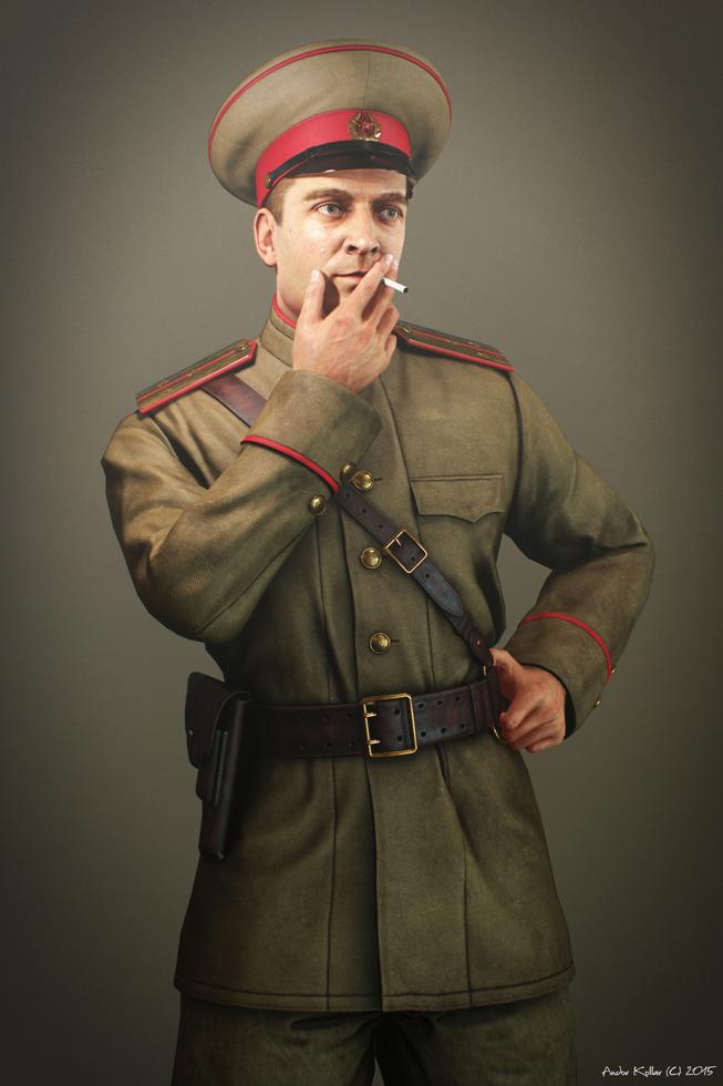 Andor Kollar Soviet Officer smoking ww2