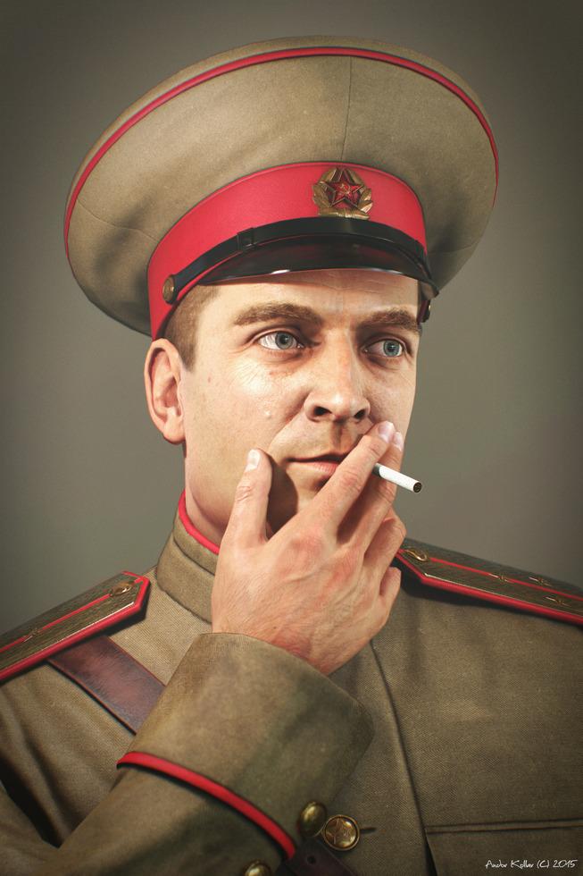 Andor Kollar Soviet Officer, smoking ww2, military hat on head