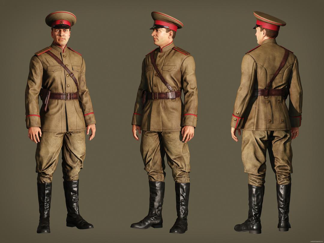 Andor Kollar Soviet Officer Soldier full body uniform hat ww2