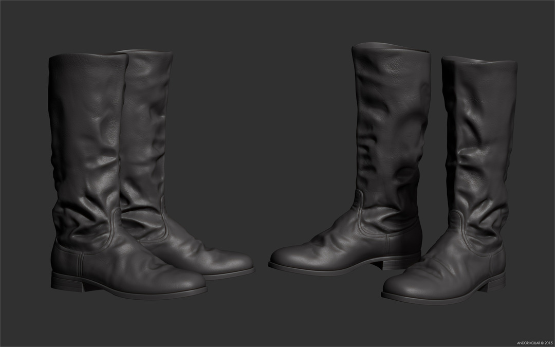 Andor Kollar sculpted ww2 soviet military boots in ZBrush