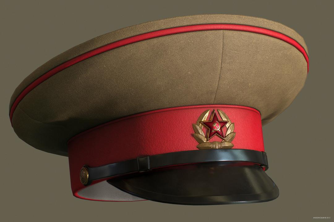 Andor Kollar Soviet Officer Hat with Soviet Badges with Red Star