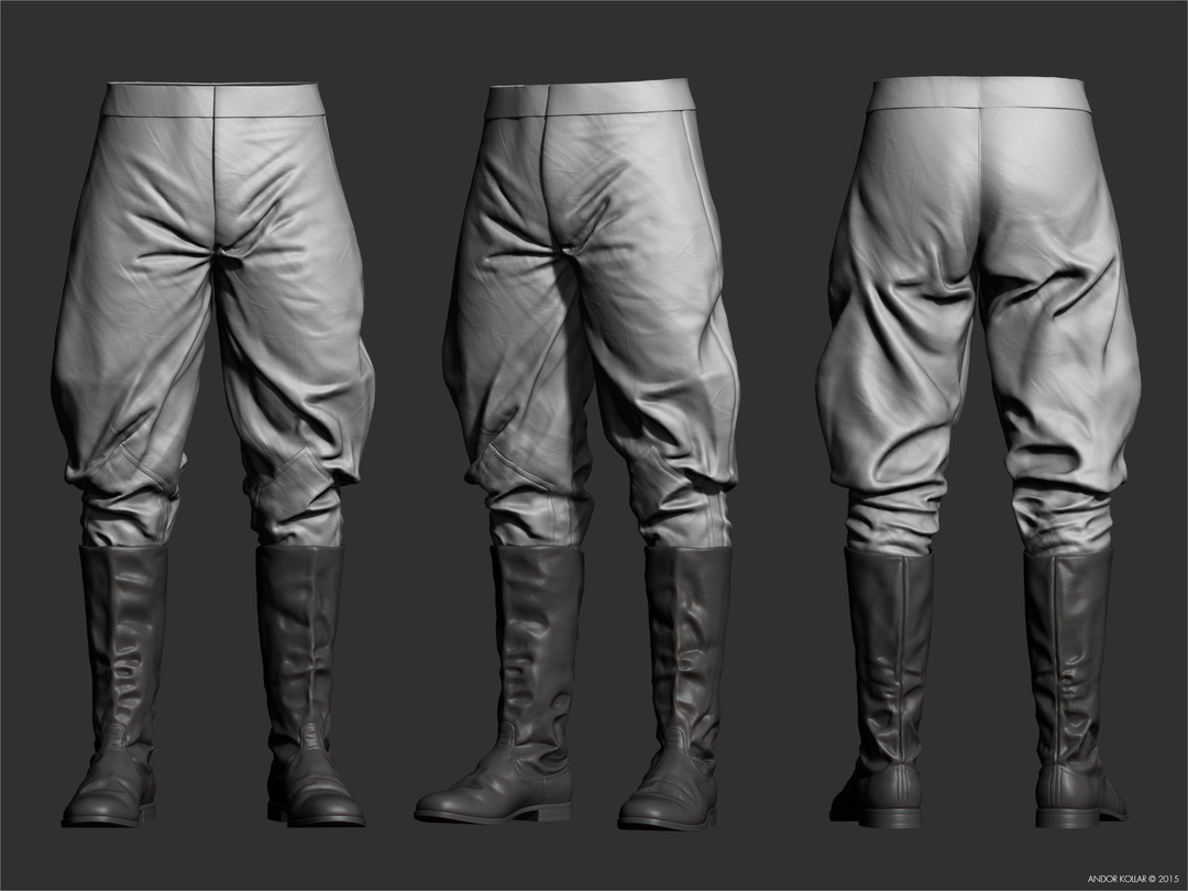 Andor Kollar sculpted ww2 soviet military trousers and boots in ZBrush