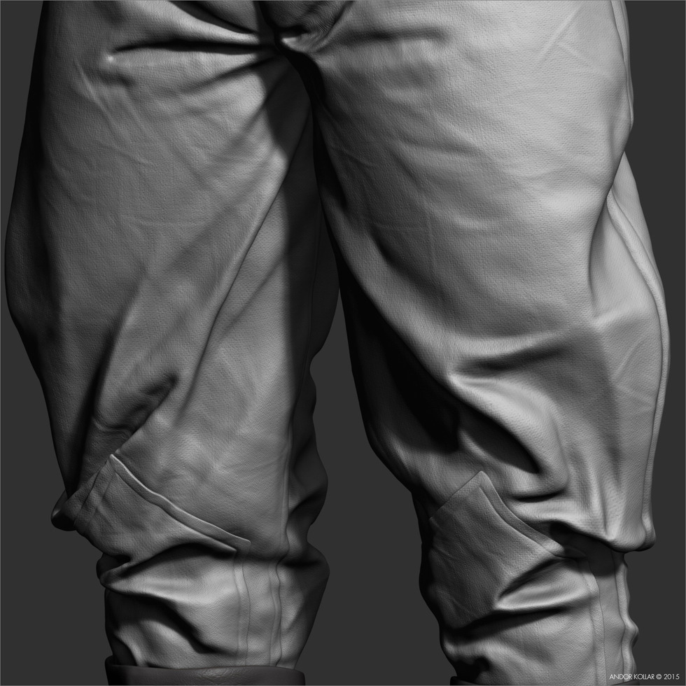 Andor Kollar trousers close-up fabric details in ZBrush