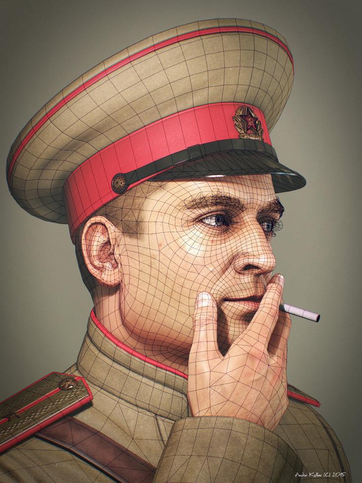 Andor Kollar smoking Soviet Officer Soldier wireframe