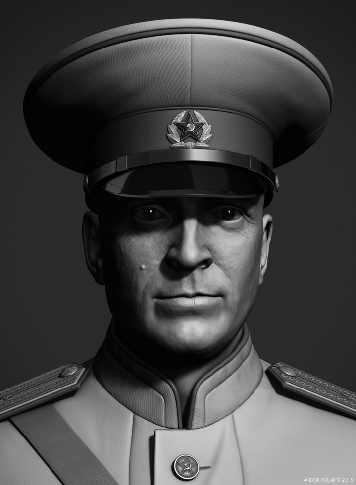 Andor Kollar Soviet Officer Head with Military Hat in ZBrush
