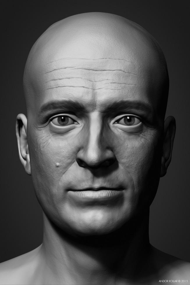 Andor Kollar sculpted Head in ZBrush