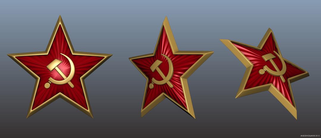 3d soviet badges red star in Maya