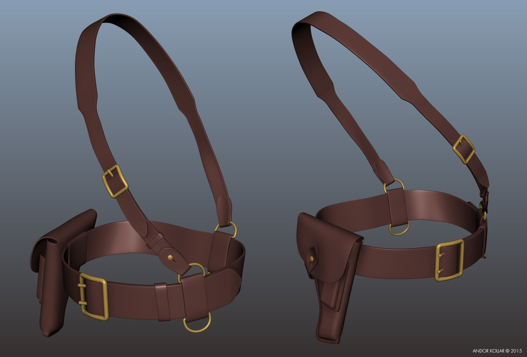 Holster and belt in Maya