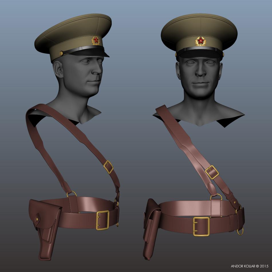 Soviet hat, holster and belt in Maya