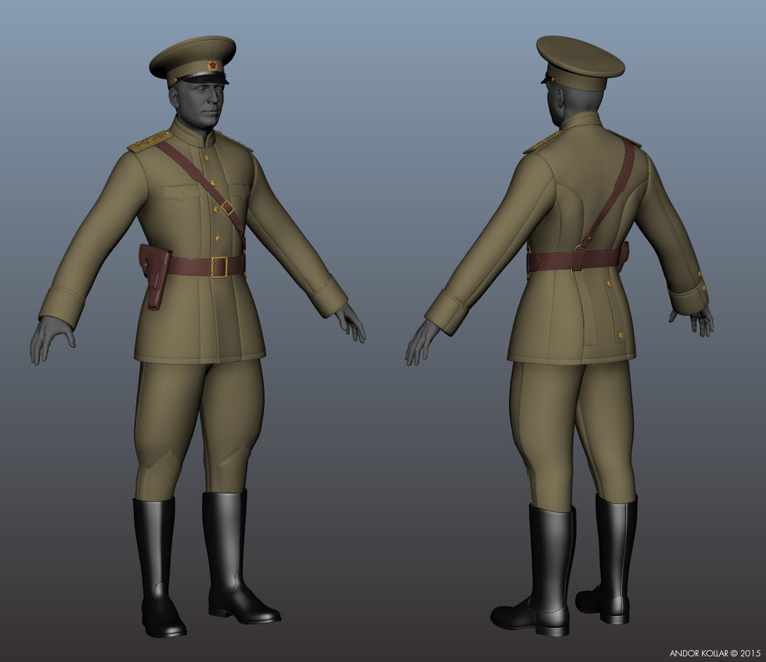 Soldier base mesh of a Soviet military uniform in Maya