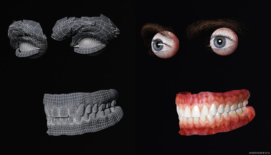 3d eye eyelash eyebrow teeth wireframe