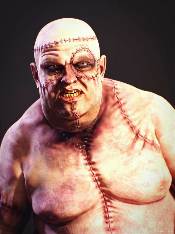 Snarling Ugly Big Fat Monster Frankenstein Creature Scar
