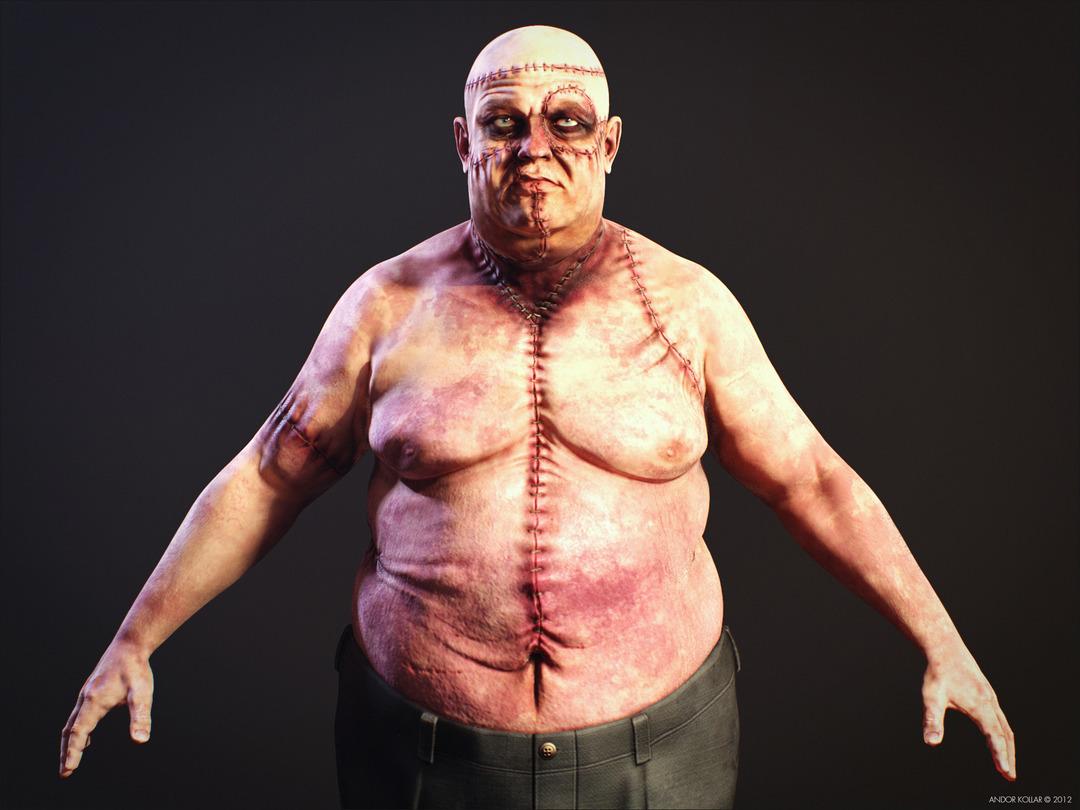 Ugly Big Fat Monster Frankenstein Creature Scar
