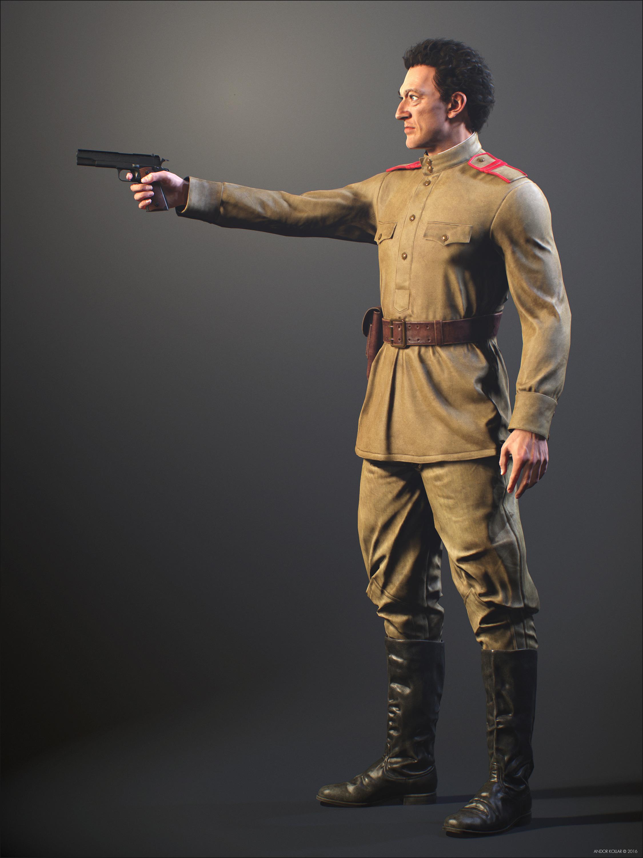 Vincent Cassel Soviet Soldier with a Gun in Hand