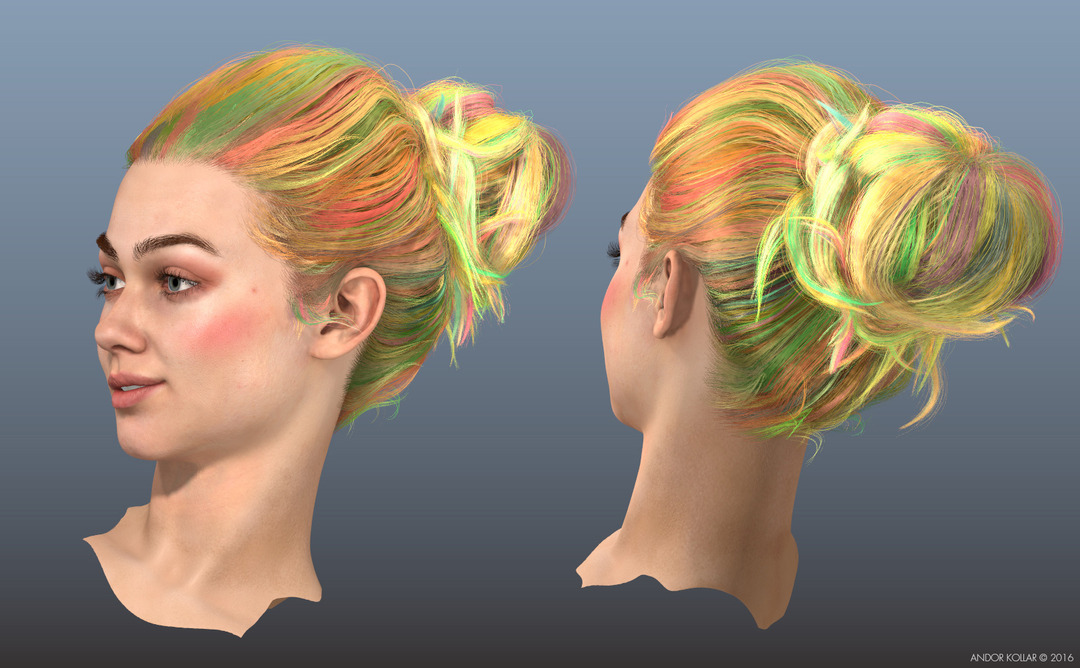 The Swing 3d Lady Head with Maya XGen Bun Hair Clumping Color