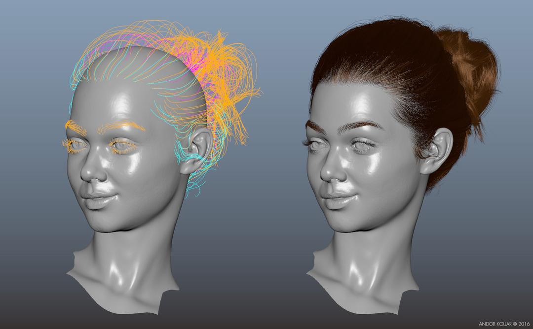 The Swing 3d Lady Head with Maya XGen Bun Hair Guides