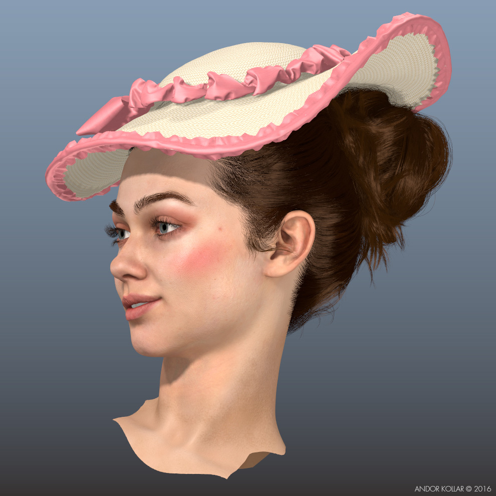 The Swing 3d Lady Head with Maya XGen Bun Hair and Colonial Straw Woman Hat