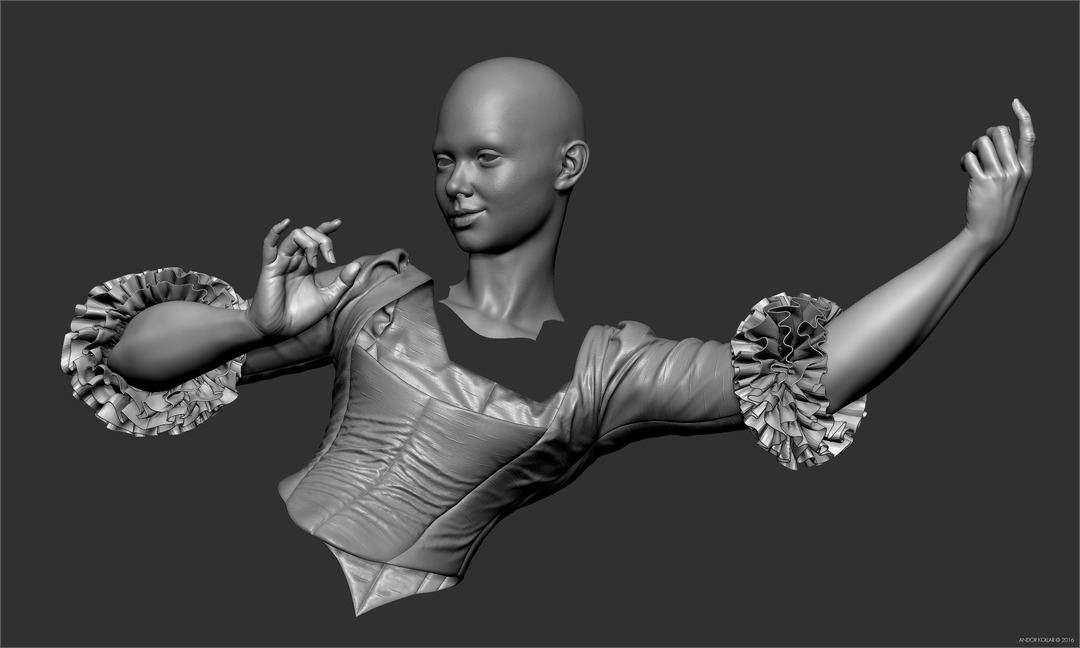 Swinging Lady Sculpt in ZBrush Silk Costume and Ruffles