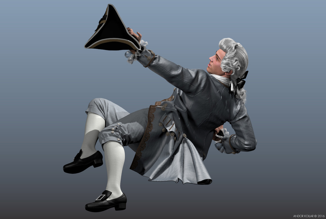 3d Man Casanova Character with Maya XGen Hair 18th Century Wig and Aristocrat Costume with Tricorn Hat