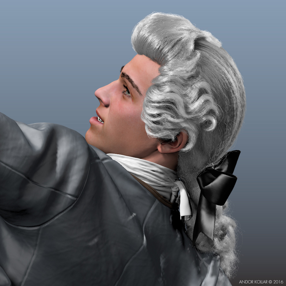 3d Man Aristocrat Character with Maya XGen Hair 18th Century Wig and with Bow