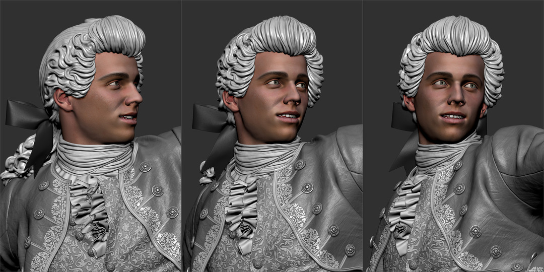 3d Man Character Detailed Clothes in ZBrush 18th Century Wig and Aristocrat Costume with Bow