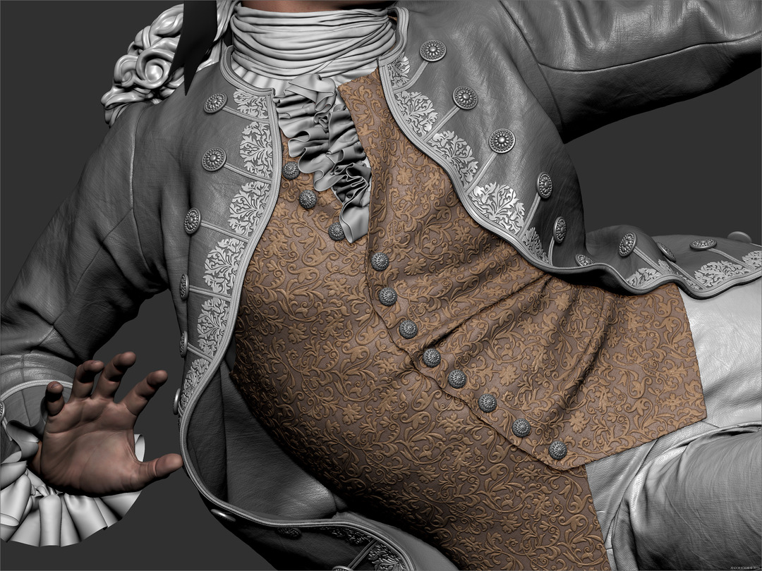 3d Man Character Detailed Vest Pattern Clothes in ZBrush Aristocrat Costume