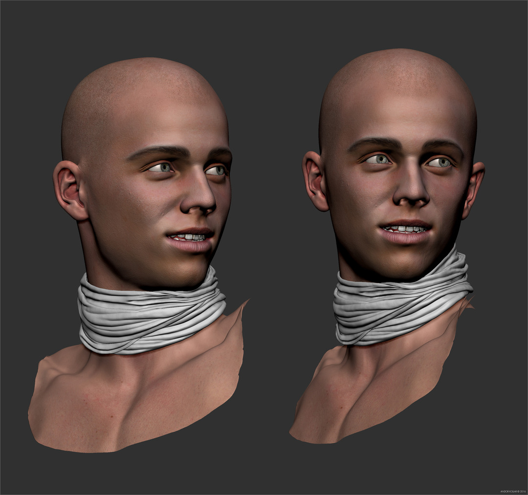 Young guy head in ZBrush with scarf