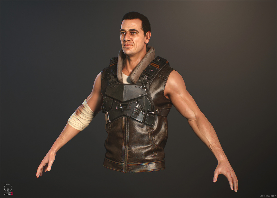 3d game soldier with metal armor, leather vest and arm bandage
