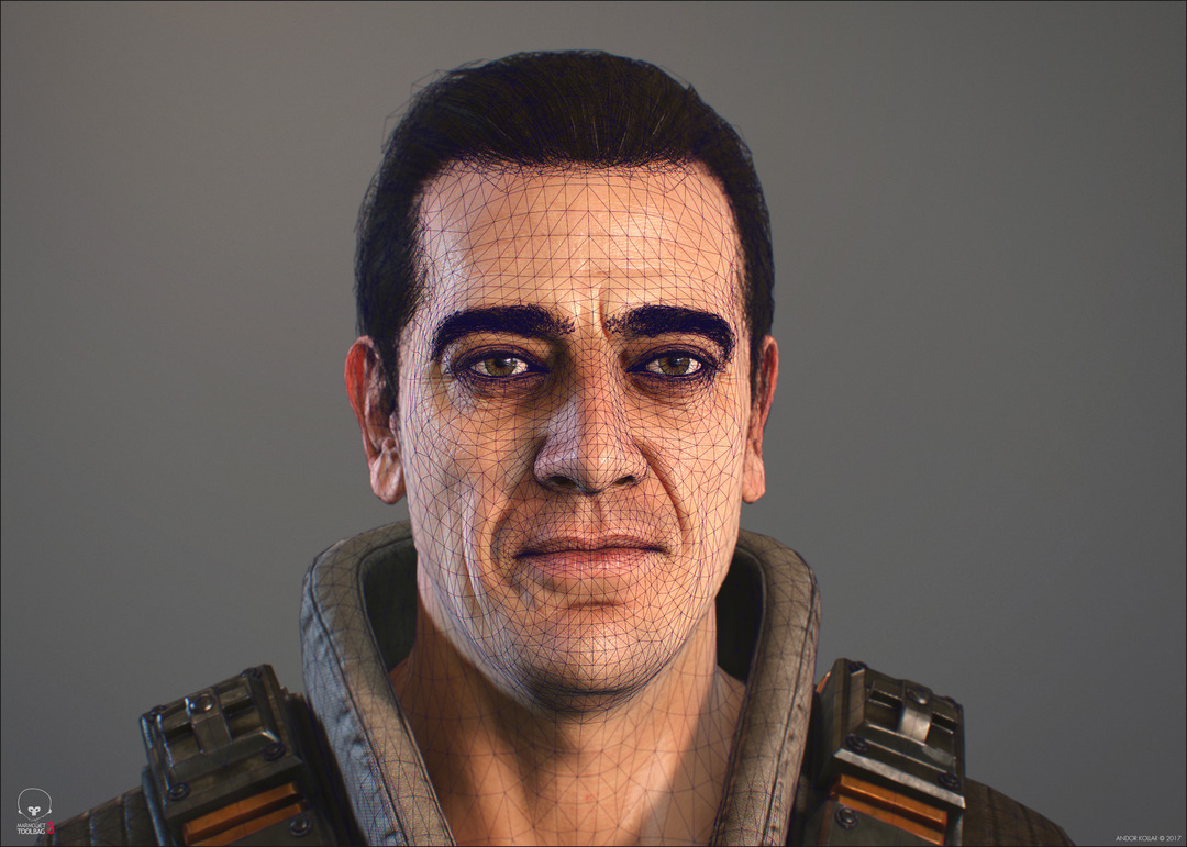 3d game soldier wireframe with polygon hair, eyelash and eyebrow