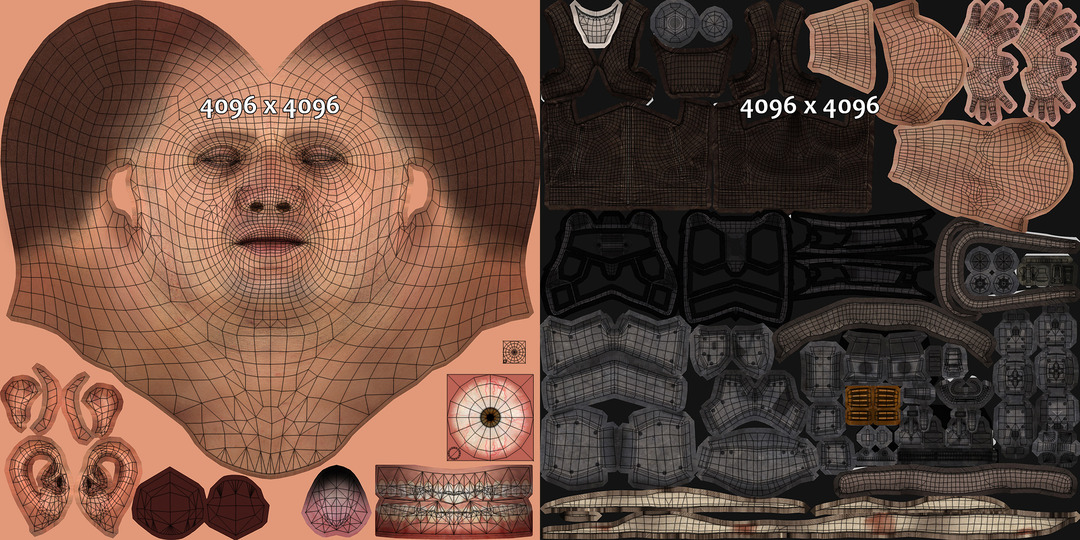 Head and body UV map for game soldier character