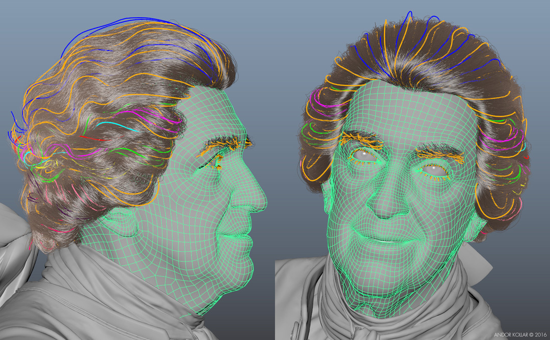 3d old man head with Maya XGen wig hair guide curve