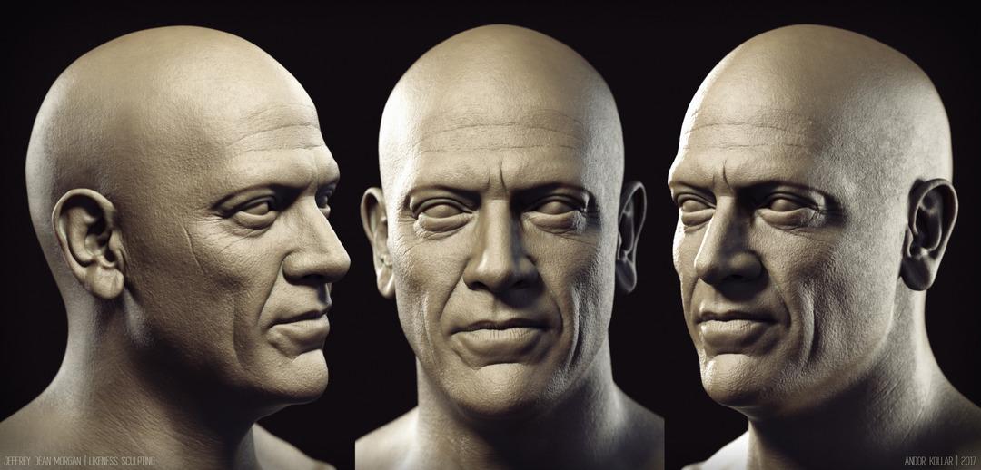Jeffrey Dean Morgan Face Head KeyShot 3d render