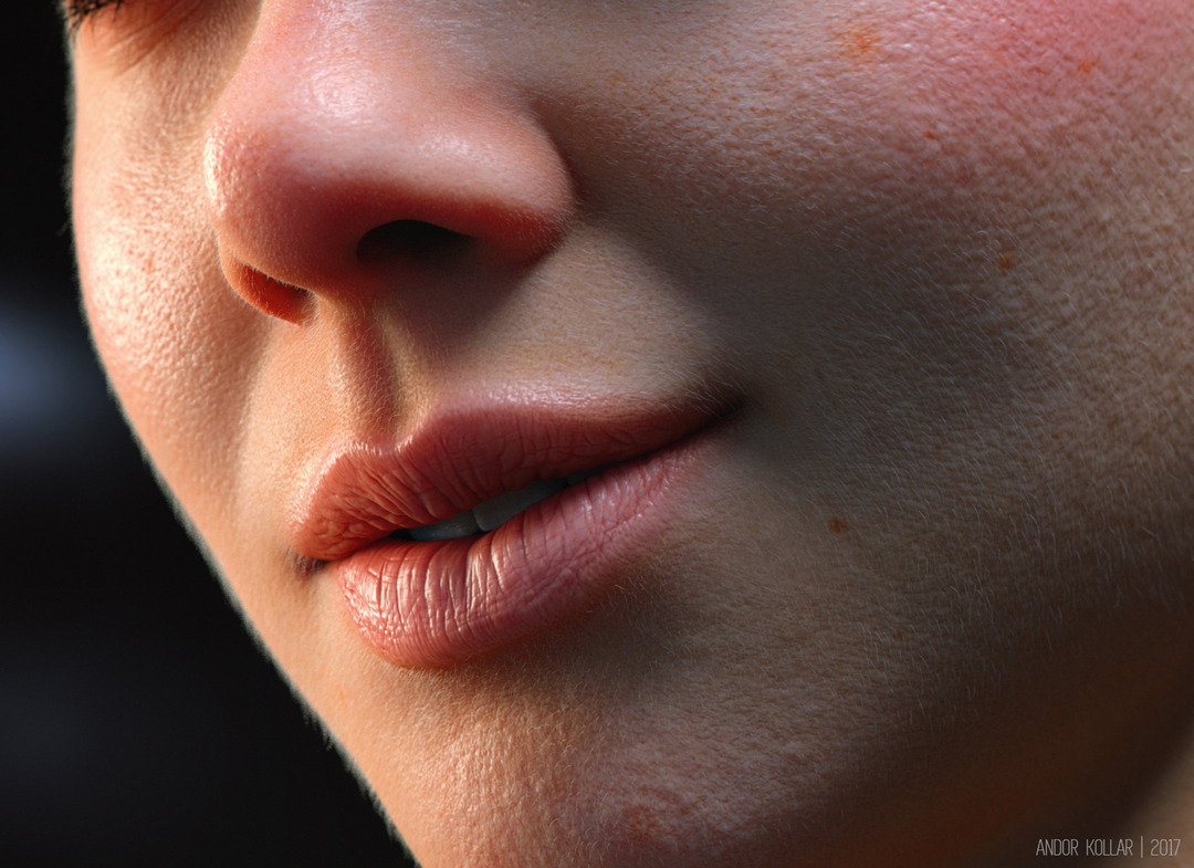 smiling girl mouth 3d render in Arnold using alShaders in Maya with peach fuzz