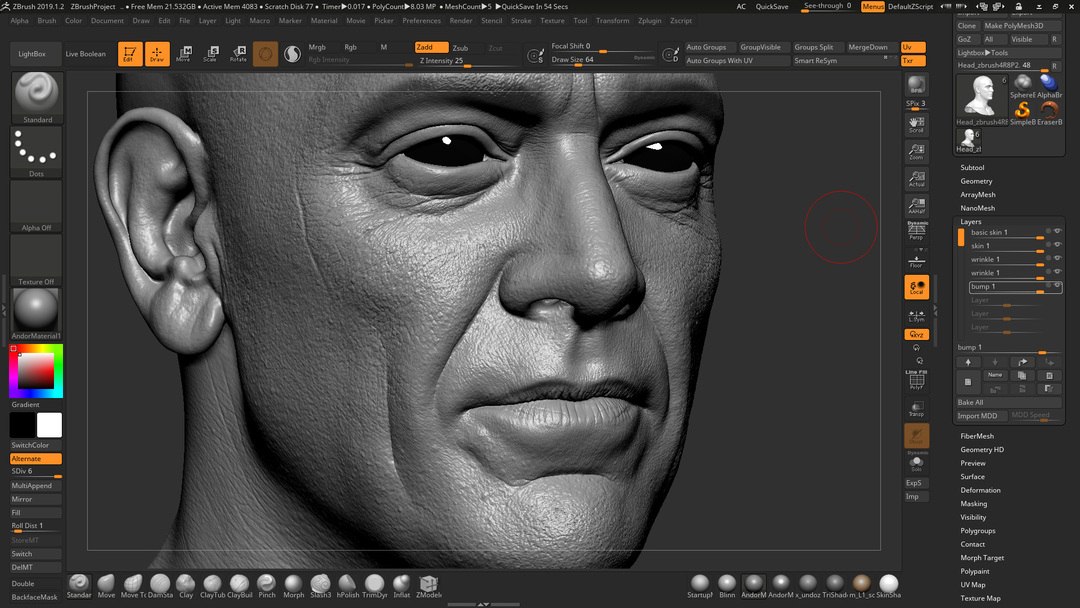 Jeffrey Dean Morgan Head Sculpting ZBrush viewport