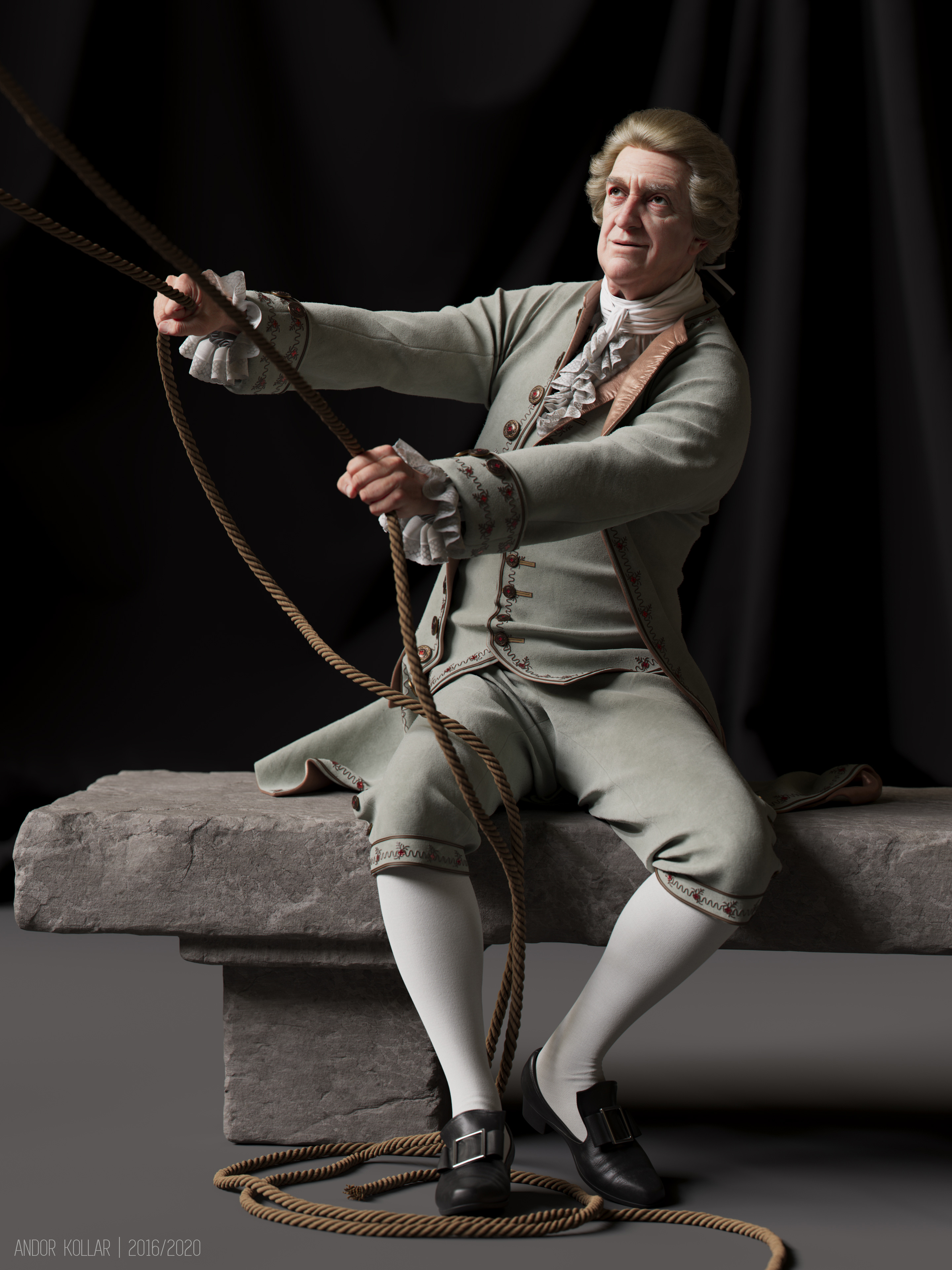 18th century 3d aristocrat character with justacorp coat and wig in Maya with Arnold renderer