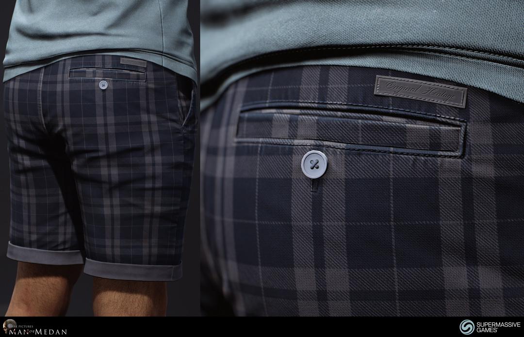 blue twill plaid shorts