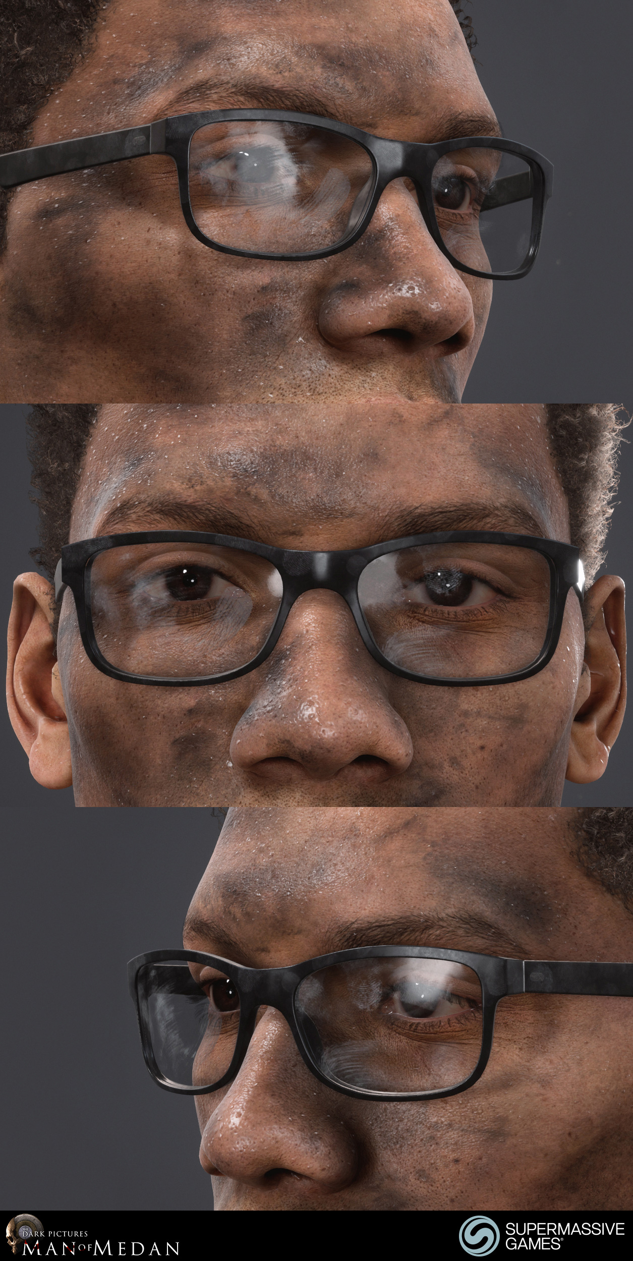 Brad is character from The Dark Pictures - Man of Medan game in Unreal Engine. Dirty face and glasses.
