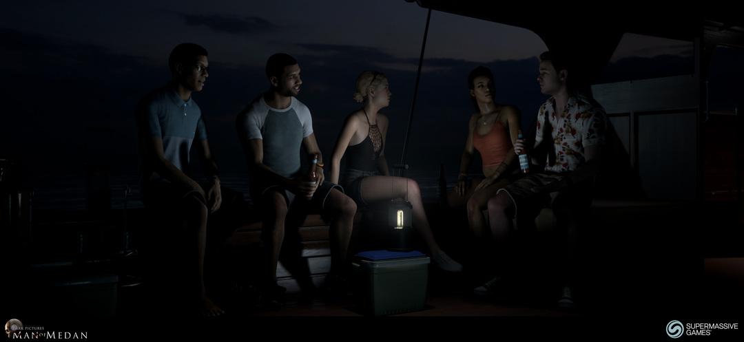 The Dark Pictures - Man of Medan. BBQ scene on the boat. Brad, Alex, Julia, Fliss and Conrad.