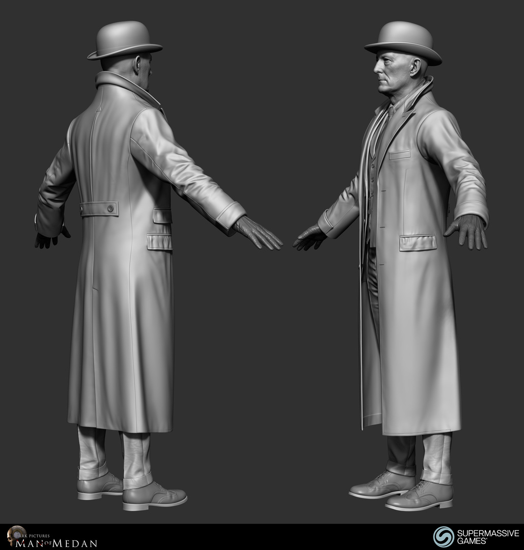 The Curator character in trench coat from Dark Pictures. ZBrush sculpting by Andor Kollar.