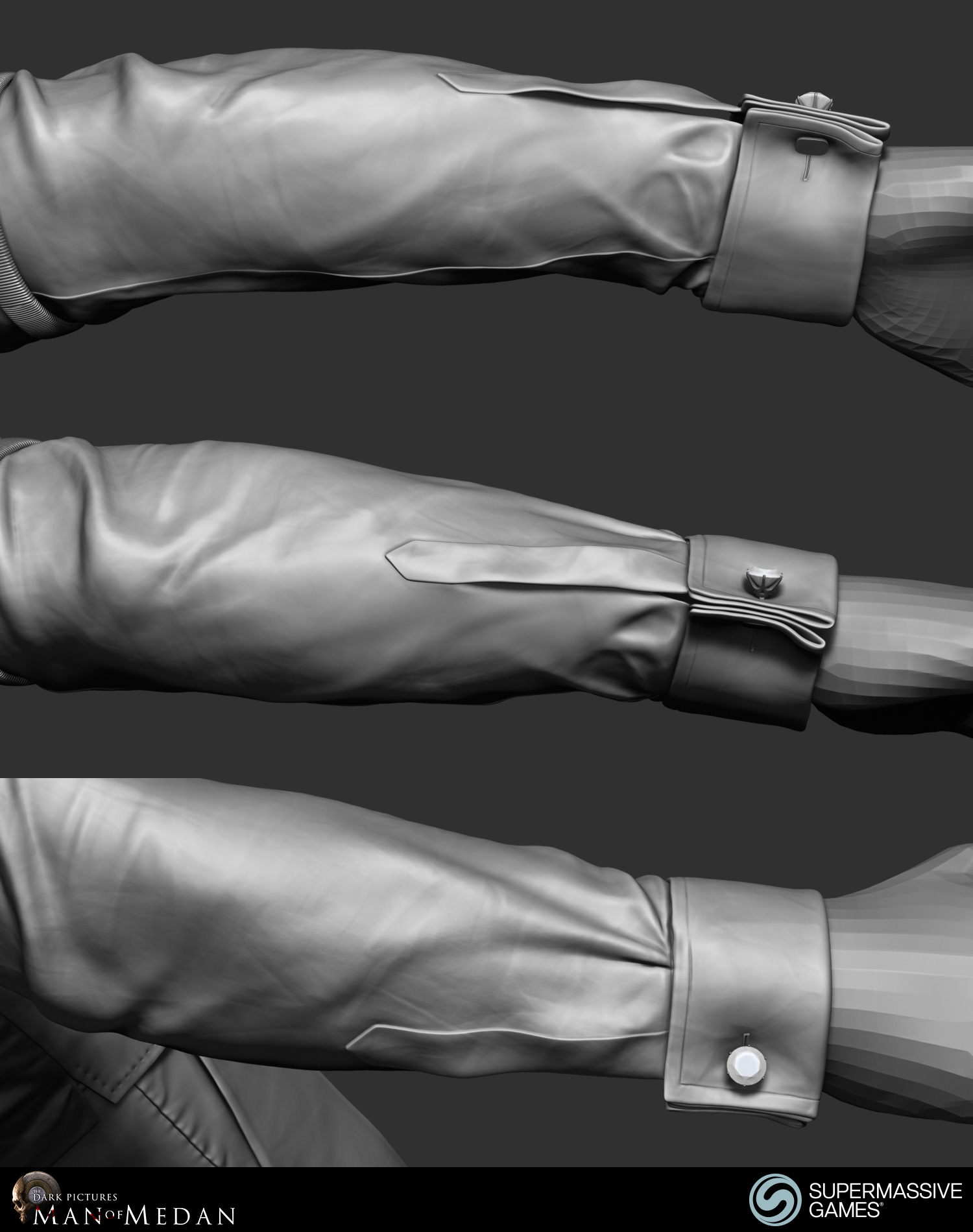 The Curator character in his elegant costume from Dark Pictures. Shirt sleeve cufflink. ZBrush sculpting by Andor Kollar.