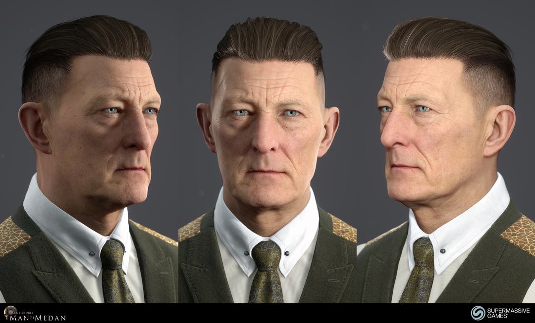 The Curator character from The Dark Pictures game in Unreal Engine. Cold hearted face with blue eyes and strong hold hair wax. Andor Kollar