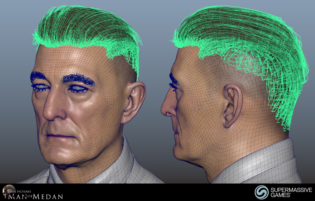 The Curator character from The Dark Pictures game. Maya 3d wireframe head and hair. Andor Kollar