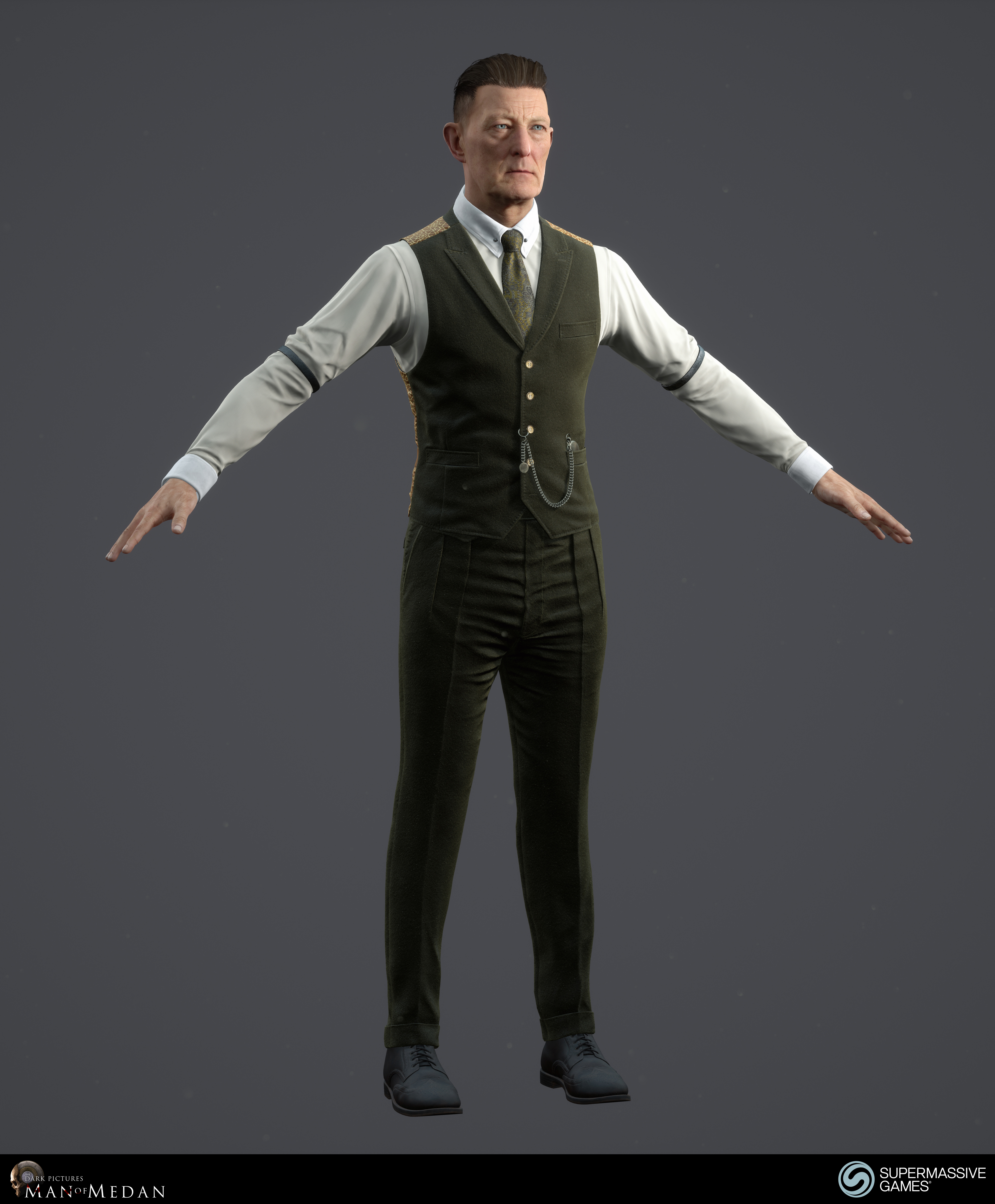 The Curator character from The Dark Pictures game in Unreal Engine. Cold hearted face with blue eyes, strong hold hair wax, elegant green costume, waistcoat, tie, pocket watch, sleeve garter. Andor Kollar
