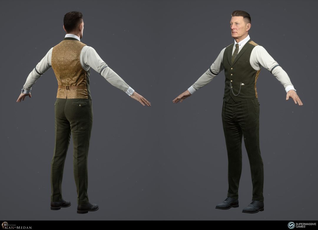 The Curator character from The Dark Pictures game in Unreal Engine. Cold hearted face with blue eyes, strong hold hair wax, elegant green costume, waistcoat, tie, pocket watch, sleeve garter, cufflink. Andor Kollar