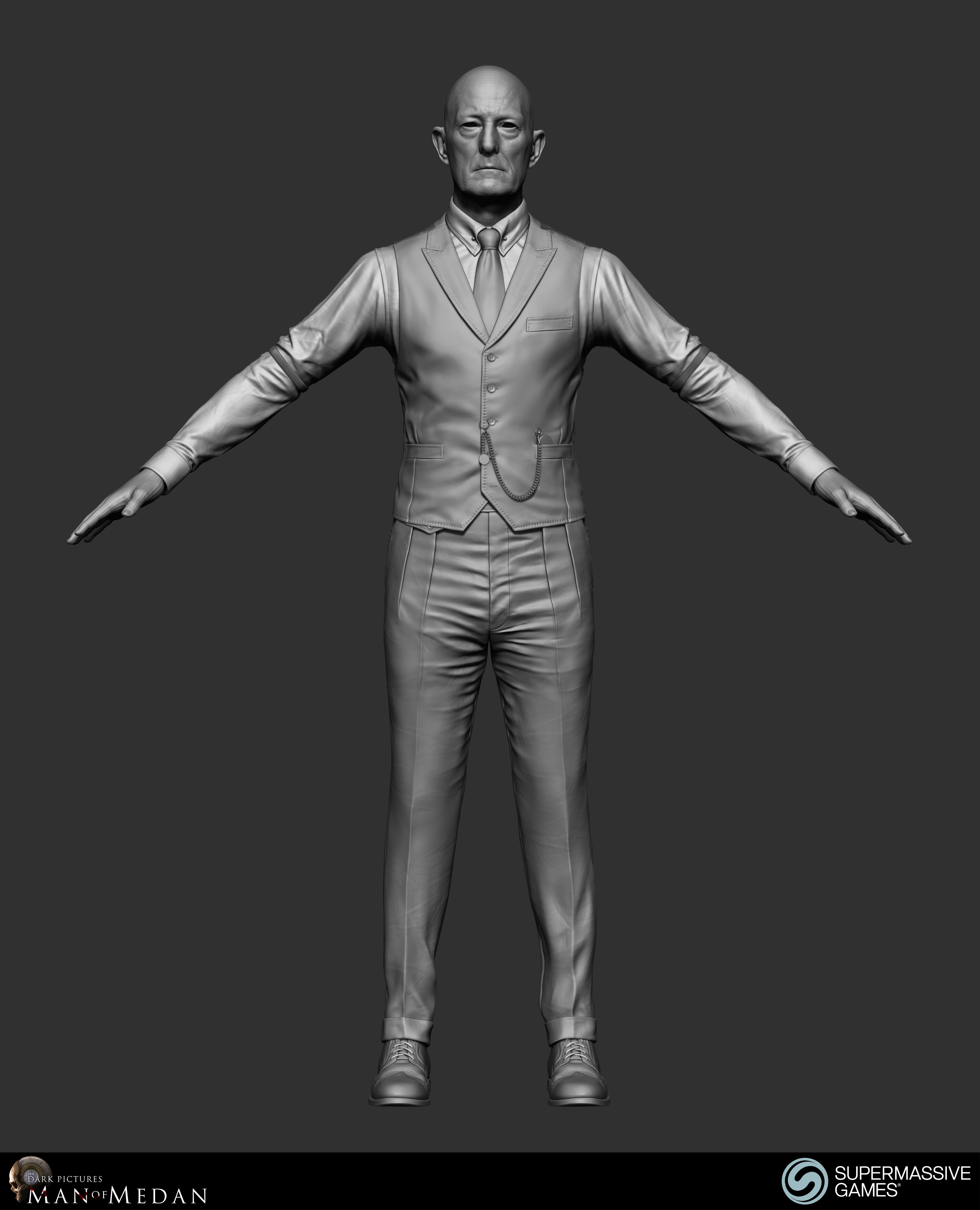The Curator character in his elegant costume from Dark Pictures. Waistcoat, shirt, sleeve garter, trousers, tie, poclet watch. ZBrush sculpting by Andor Kollar.