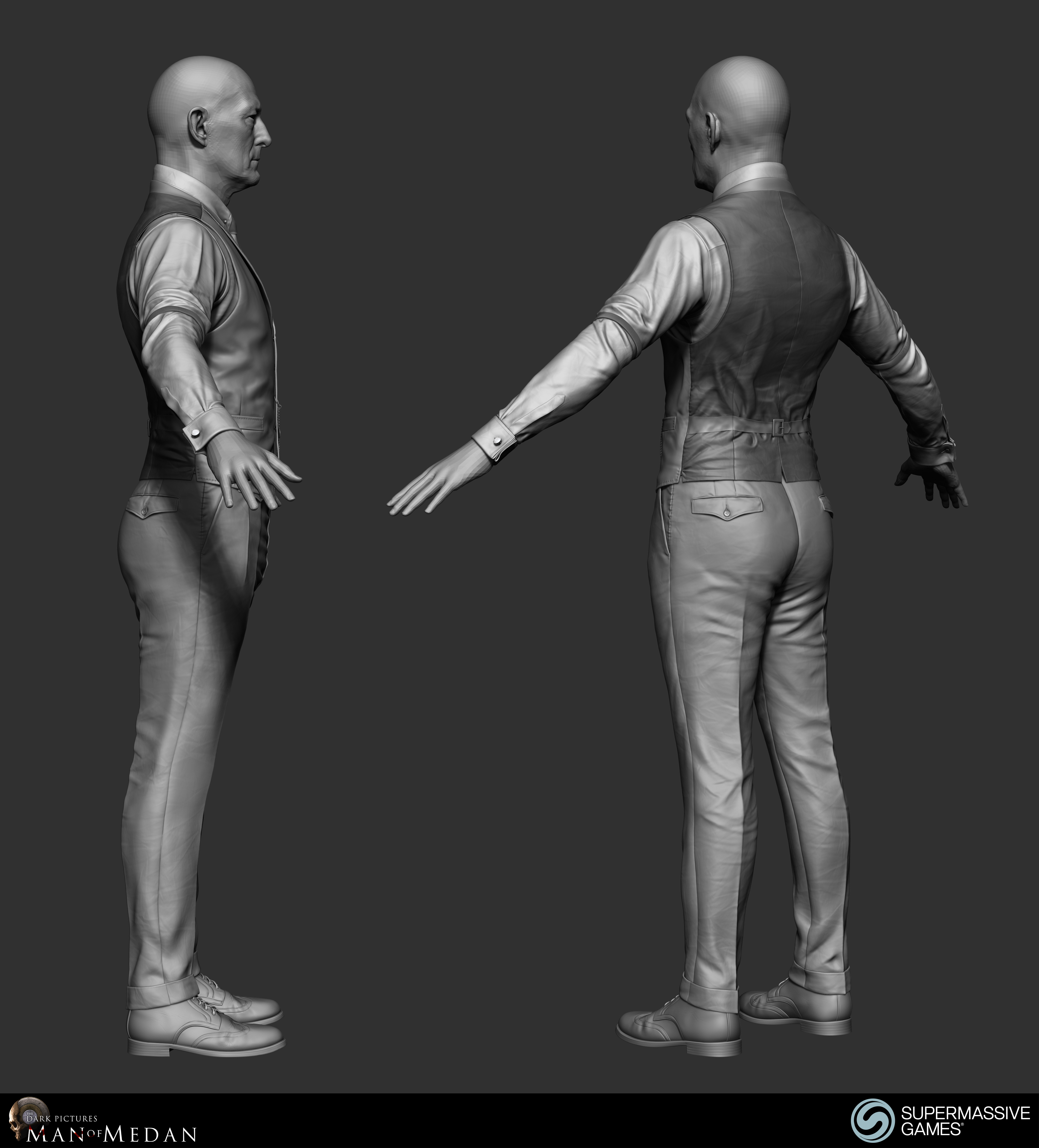The Curator character in his elegant costume from Dark Pictures. Waistcoat, shirt, sleeve garter, cufflink, trousers, tie, poclet watch. ZBrush sculpting by Andor Kollar.