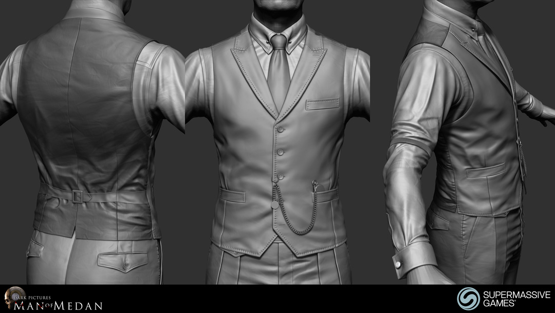 The Curator character in his elegant costume from Dark Pictures. Waistcoat, shirt, sleeve garter, cufflink, tie, poclet watch. ZBrush sculpting by Andor Kollar.