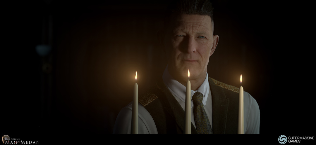 The Curator character from The Dark Pictures game. The Curator with candles. Andor Kollar