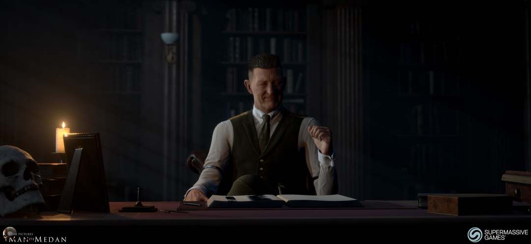 The Curator character from The Dark Pictures game. The Curator at his desk. Andor Kollar