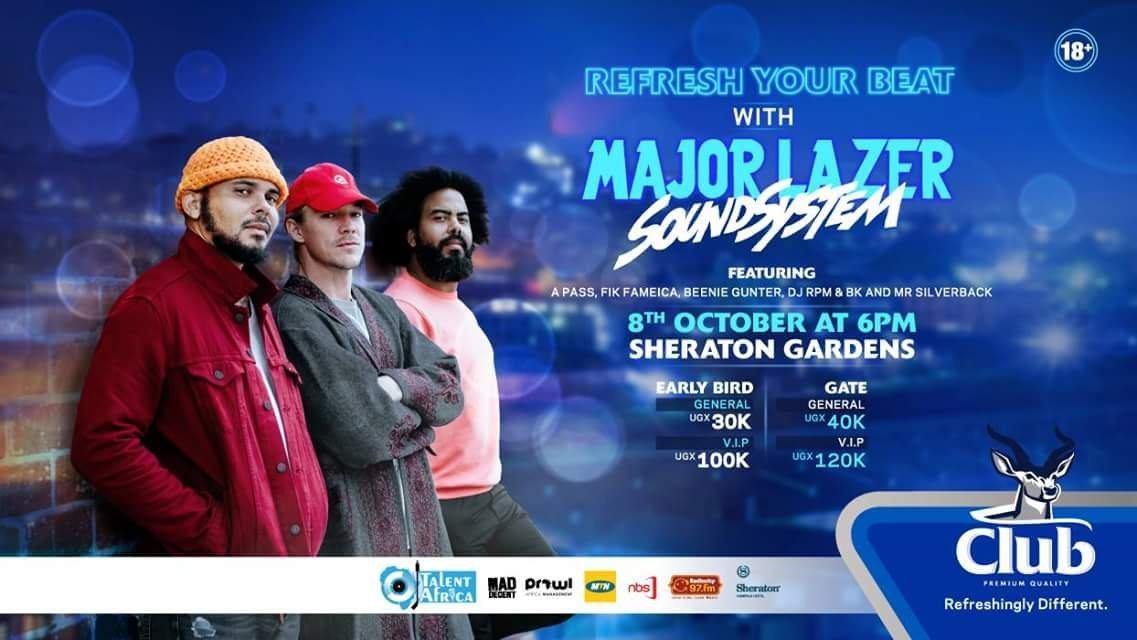 Club Pilsner Brings American Dance Trio Major Lazer To Kampala